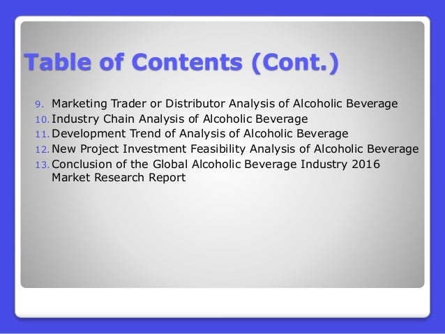 alcoholic beverage report And alcoholism (niaaa) findings are based on alcoholic beverage sales data, either collected directly by analysis of overall per capita alcohol consumption by census region between 2008 and 2009 this surveillance report on per capita consumption of alcohol in the united states is.