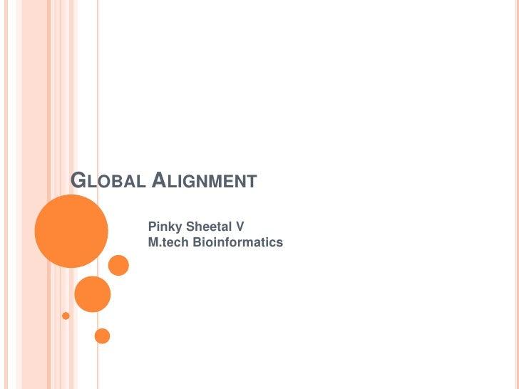 GLOBAL ALIGNMENT      Pinky Sheetal V      M.tech Bioinformatics