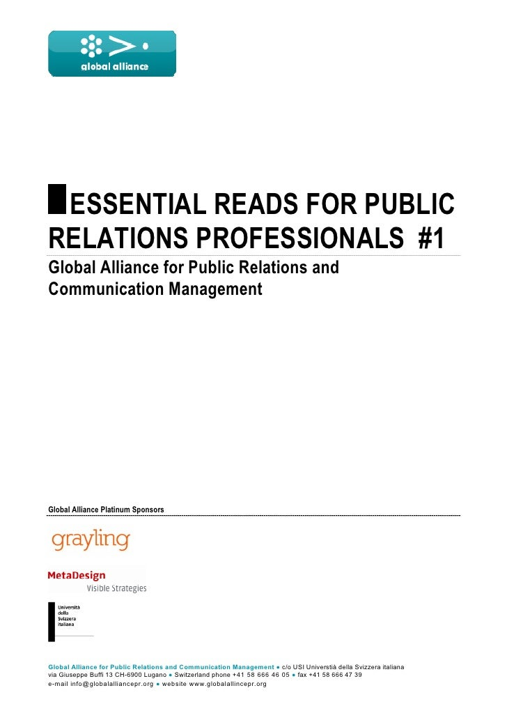 ESSENTIAL READS FOR PUBLIC RELATIONS PROFESSIONALS #1 Global Alliance for Public Relations and Communication Manage...