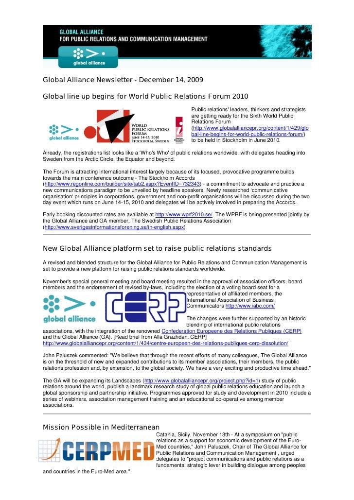 Global Alliance Newsletter - December 14, 2009  Global line up begins for World Public Relations Forum 2010               ...