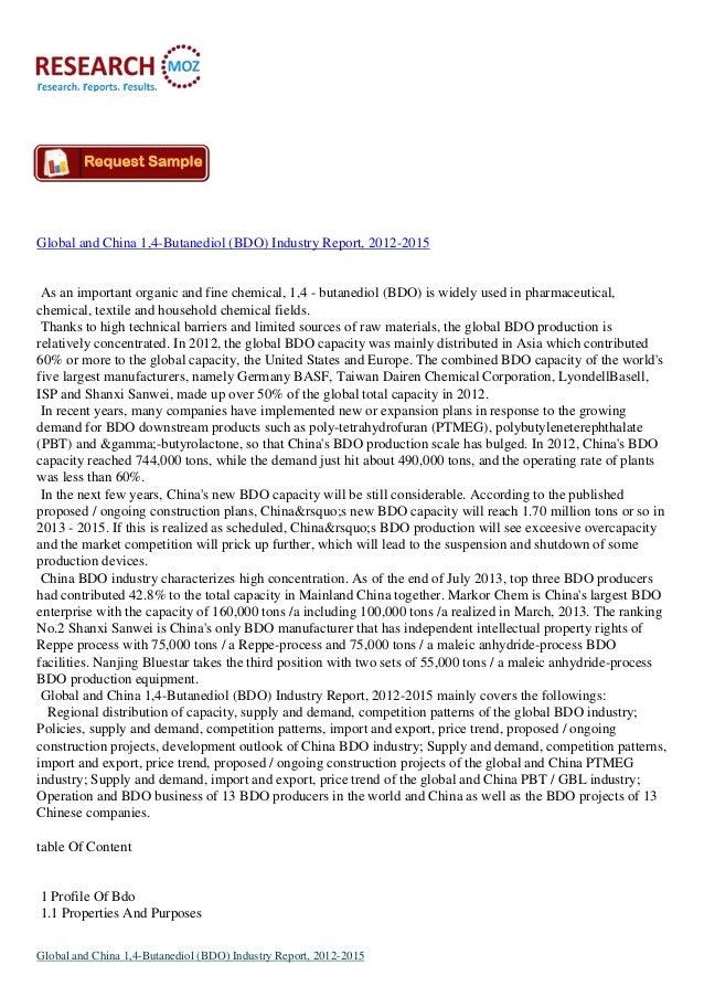 Global and China 1,4-Butanediol (BDO) Industry Report, 2012-2015 As an important organic and fine chemical, 1,4 - butanedi...