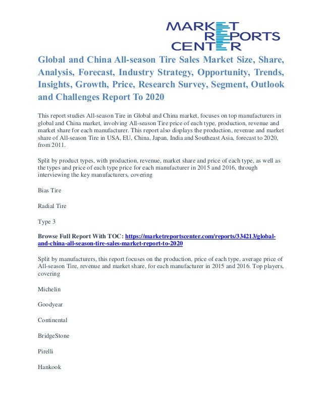 Global and China All-season Tire Sales Market Size, Share, Analysis, Forecast, Industry Strategy, Opportunity, Trends, Ins...
