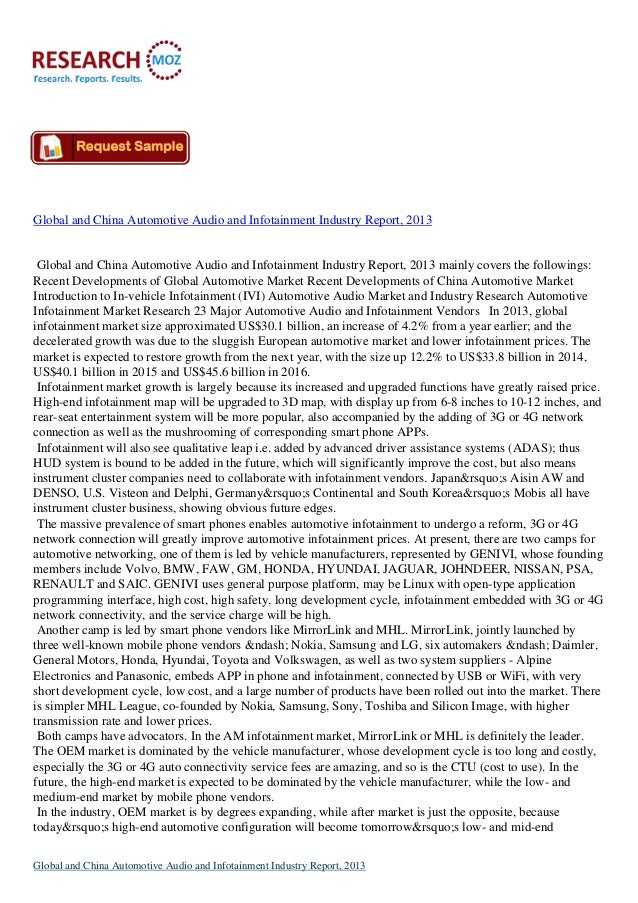 Global and China Automotive Audio and Infotainment Industry Report, 2013  Global and China Automotive Audio and Infotainme...