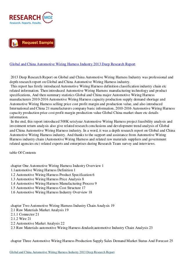 Global And China Automotive Wiring Harness Industry 2013 Deep Resear Rh Slideshare Custom Kits Wire: Custom Automotive Wiring Harness Kits At Jornalmilenio.com
