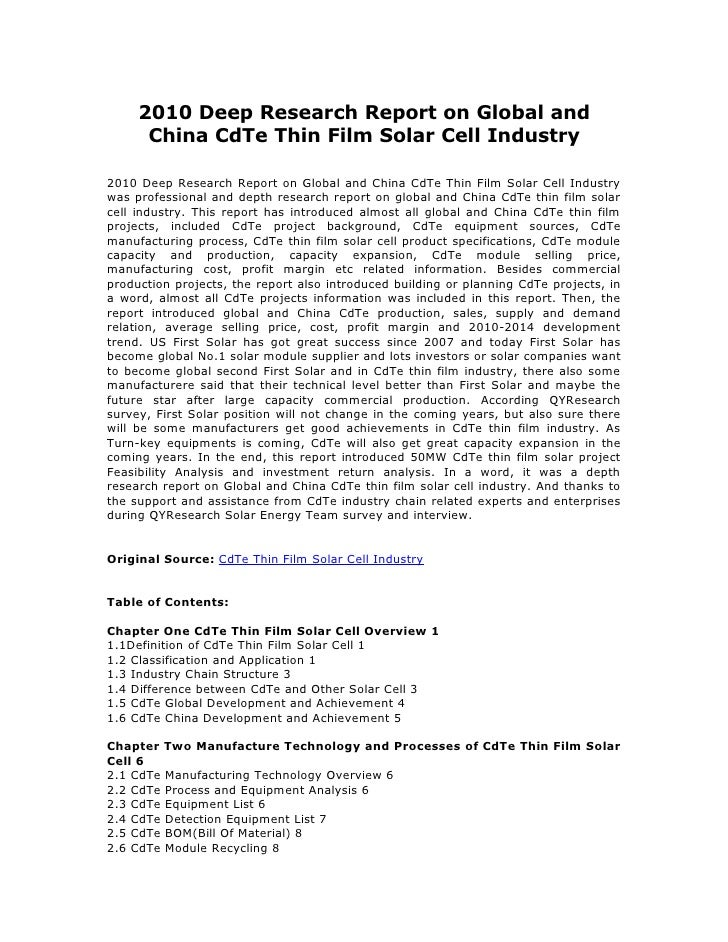 2010 Deep Research Report on Global and      China CdTe Thin Film Solar Cell Industry2010 Deep Research Report on Global a...