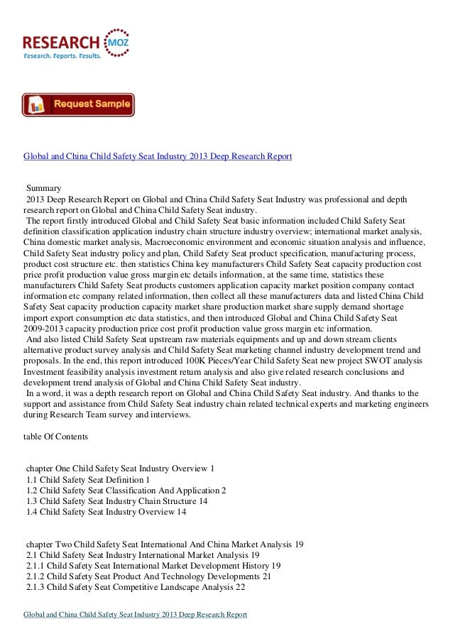 Global and China Child Safety Seat Industry 2013 Deep Research Report Summary 2013 Deep Research Report on Global and Chin...