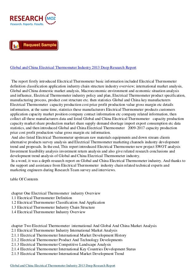 Global and China Electrical Thermometer Industry 2013 Deep Research Report The report firstly introduced Electrical Thermo...
