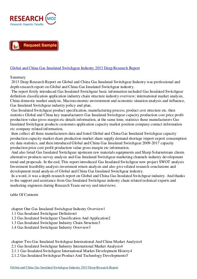 Global and China Gas Insulated Switchgear Industry 2013 Deep Research ReportSummary 2013 Deep Research Report on Global an...