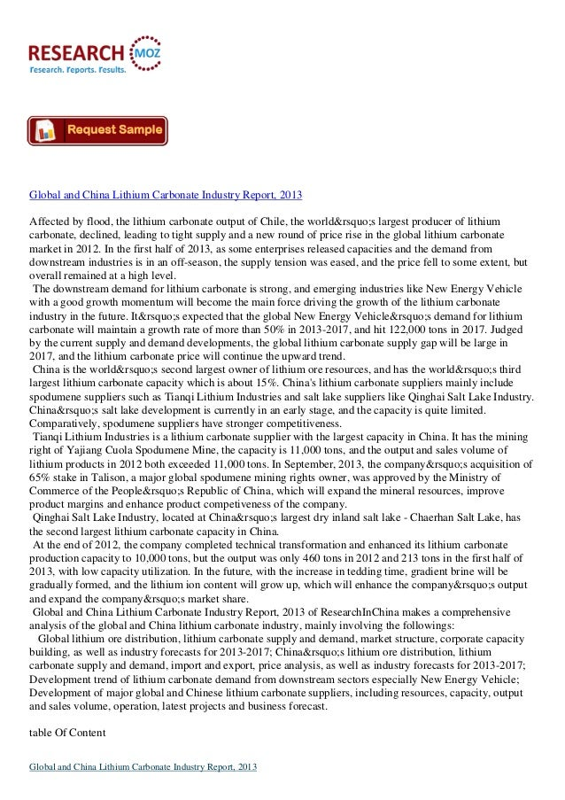 Global and China Lithium Carbonate Industry Report, 2013 Affected by flood, the lithium carbonate output of Chile, the wor...