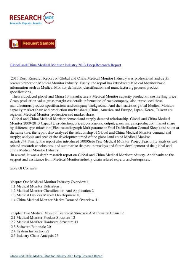 Global and China Medical Monitor Industry 2013 Deep Research Report2013 Deep Research Report on Global and China Medical M...