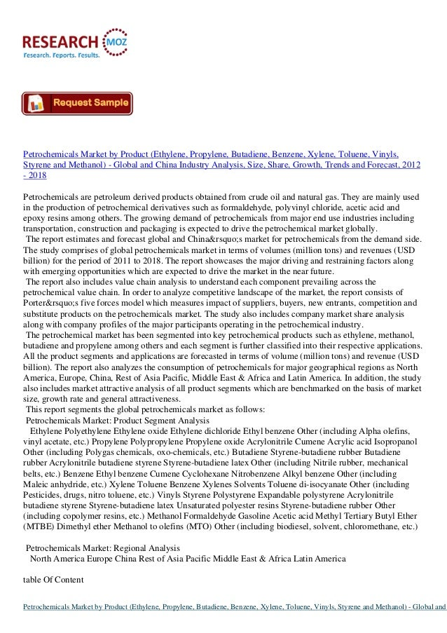 Petrochemicals Market by Product (Ethylene, Propylene, Butadiene, Benzene, Xylene, Toluene, Vinyls, Styrene and Methanol) ...