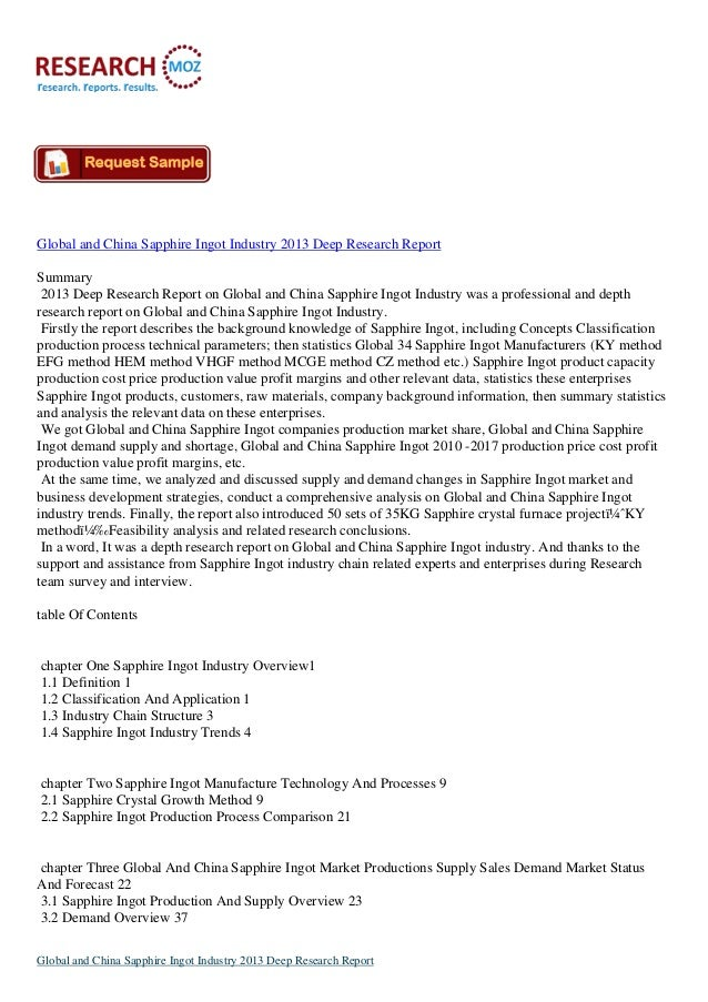 Global and China Sapphire Ingot Industry 2013 Deep Research ReportSummary 2013 Deep Research Report on Global and China Sa...