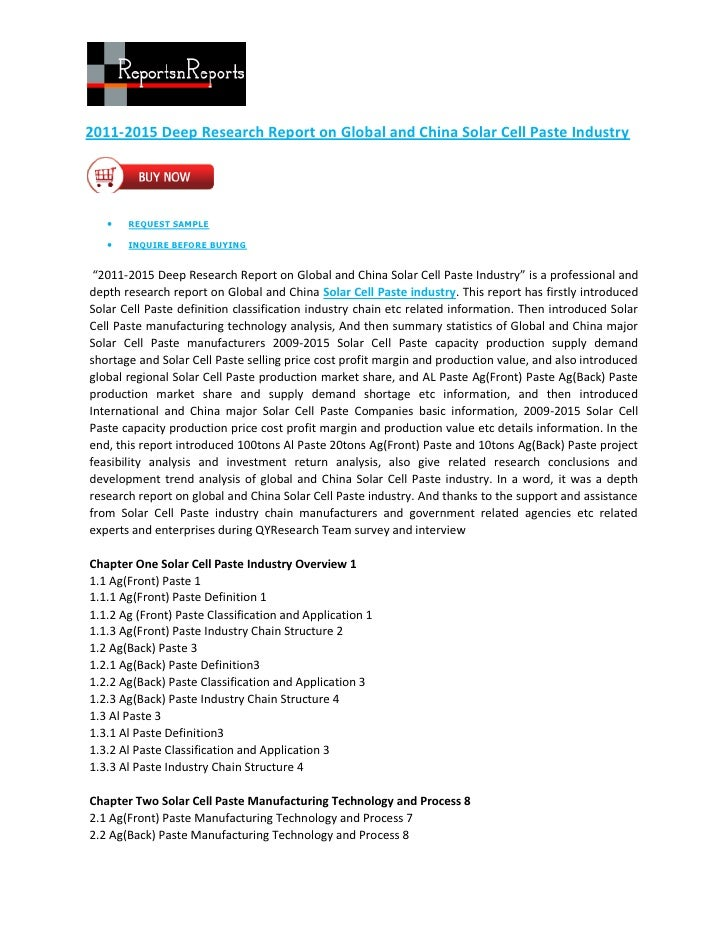 2011-2015 Deep Research Report on Global and China Solar Cell Paste Industry      REQUEST SAMPLE      INQUIRE BEFORE BUY...