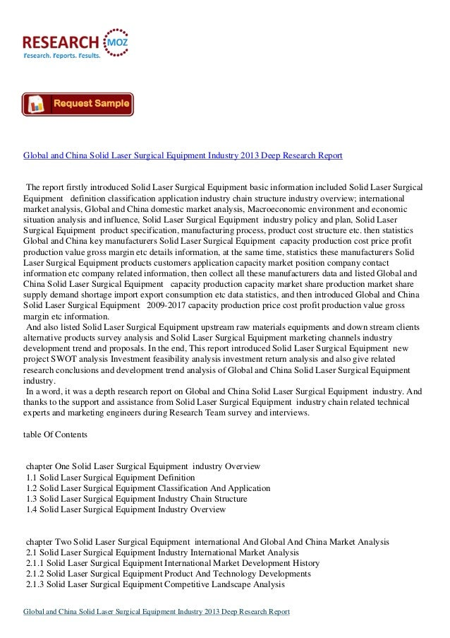 Global and China Solid Laser Surgical Equipment Industry 2013 Deep Research Report The report firstly introduced Solid Las...