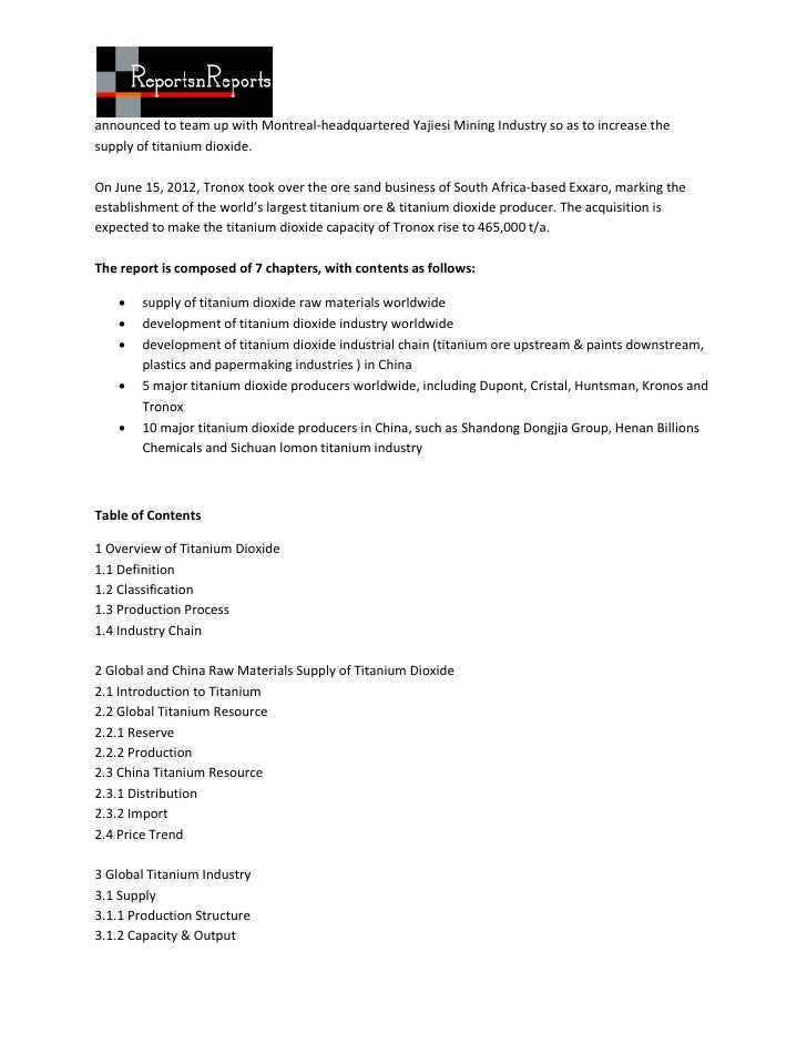 Global and china titanium dioxide industry report, 2011 2012