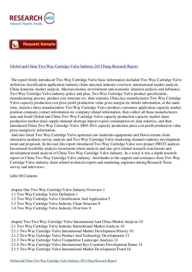 Global and China Two Way Cartridge Valve Industry 2013 Deep Research Report  The report firstly introduced Two Way Cartrid...