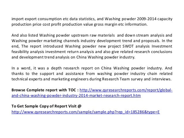 Global And China Washing Powder Industry 2014 Market Size