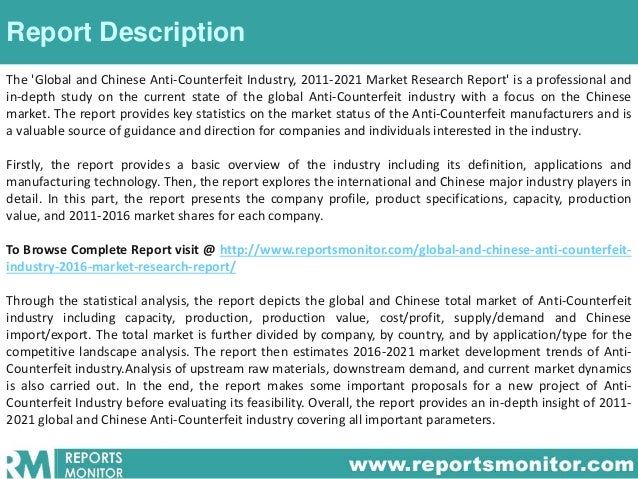 Global and chinese anti counterfeit industry, 2016 market ...