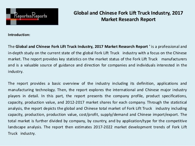 Global and chinese fork lift truck industry, 2017 market ...