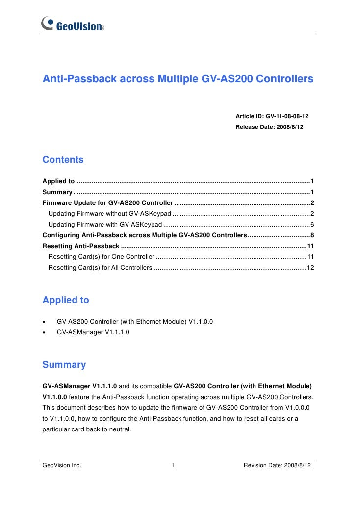Anti-Passback across Multiple GV-AS200 Controllers                                                                        ...
