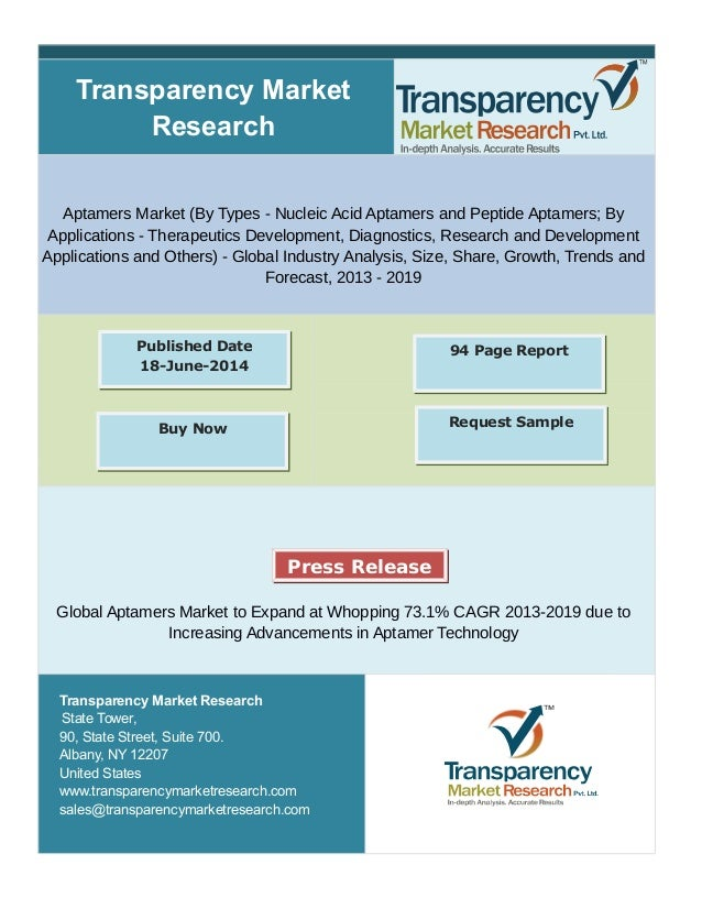 Transparency Market Research Aptamers Market (By Types - Nucleic Acid Aptamers and Peptide Aptamers; By Applications - The...