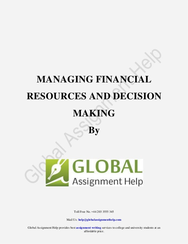 managing finance assignment Good financial management is key to any successful sports program the way  funds are managed, solutions to budget problems are issued, and understanding .