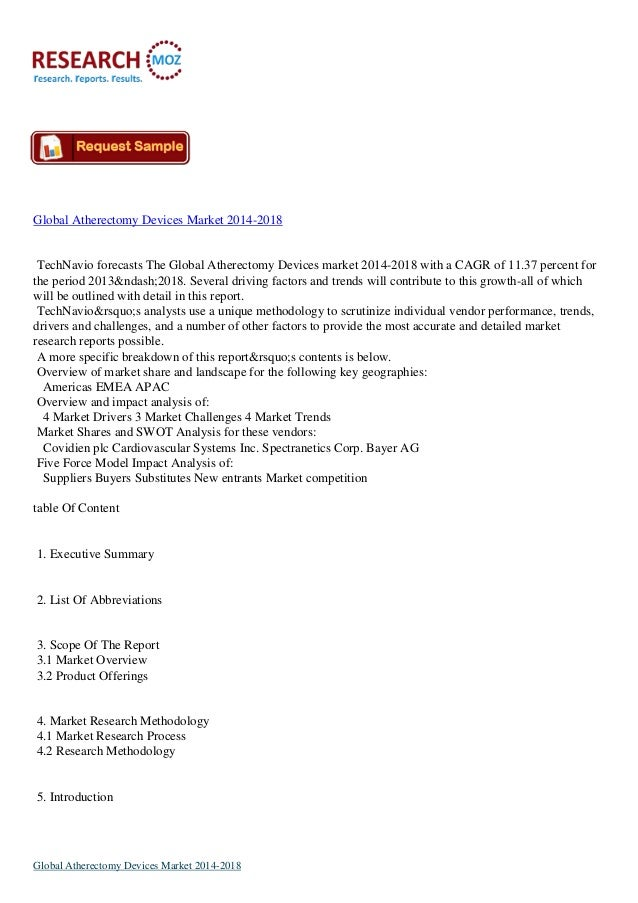 Global Atherectomy Devices Market 2014-2018  TechNavio forecasts The Global Atherectomy Devices market 2014-2018 with a CA...