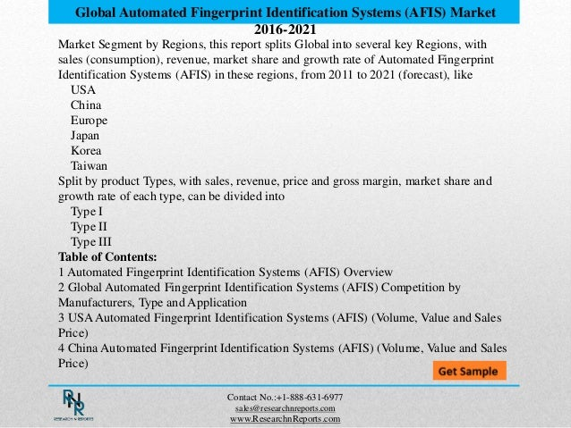 Global automated fingerprint identification systems (afis ...