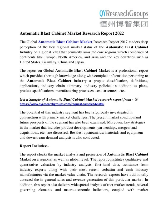 Automatic Blast Cabinet Market 2022 Technology, Type and Application …
