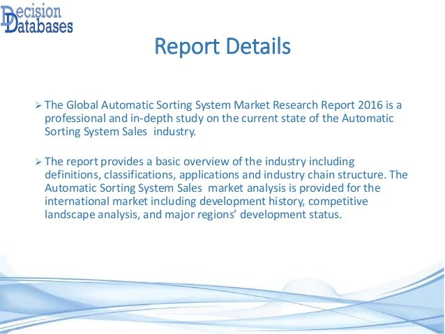 Global Automatic Sorting System Market Research Report 2016 Slide 3