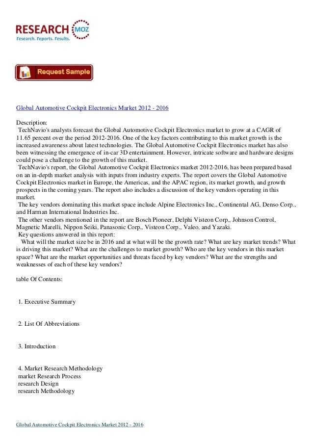 Global Automotive Cockpit Electronics Market 2012 - 2016Description:TechNavios analysts forecast the Global Automotive Coc...