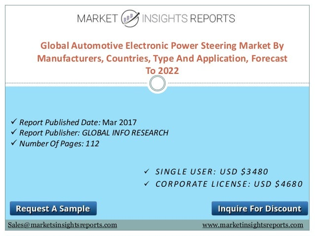  SINGLE USER: USD $3480  CORPORATE LICENSE: USD $4680 Global Automotive Electronic Power Steering Market By Manufacturer...