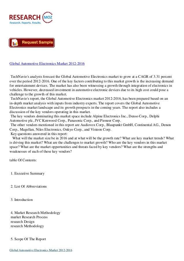 Global Automotive Electronics Market 2012-2016TechNavios analysts forecast the Global Automotive Electronics market to gro...
