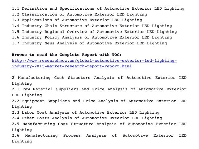 exterior led lighting specifications. table of contents 1 industry overview; 3. 1.1 definition and specifications automotive exterior led lighting led c