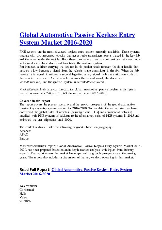 Global Automotive Passive Keyless Entry System Market 2016 2020