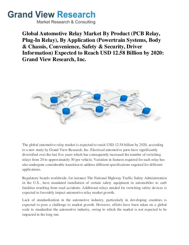 Automotive relay market size share analysis to 2020 grand view res global automotive relay market by product pcb relay plug in relay sciox Choice Image