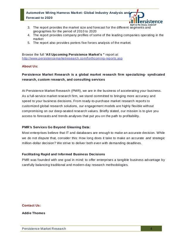 global automotive wiring harness market analysis and forecast to 2020 4 automotive wiring harness