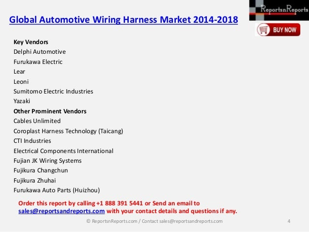automotive wiring harness market global Global automotive wiring harness market 2014-2018 published by technavio at researchbeamcom  global automotive wiring harness market 2014-2018 is a research report segmented on key players, drivers, challenges and trends.