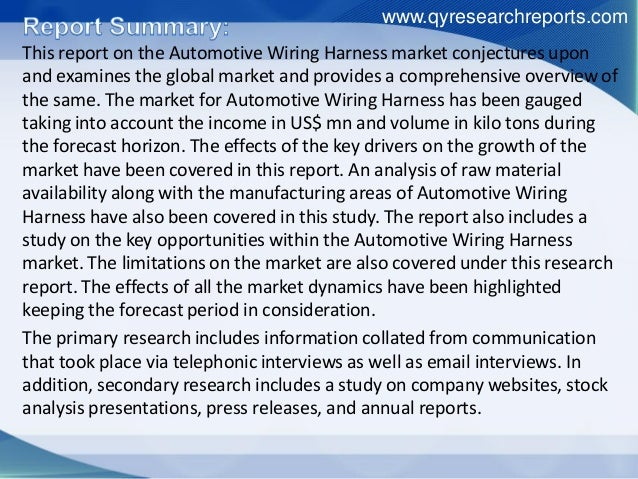 Global Automotive Wiring Harness Market Growth  Size  Share  Research U2026