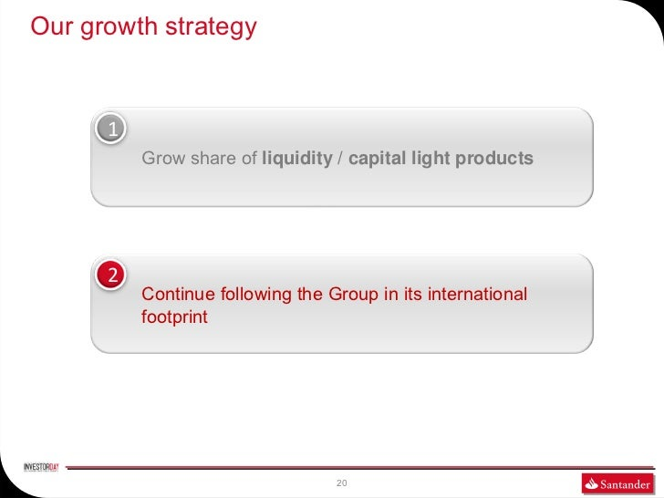 Our growth strategy      1          Grow share of liquidity / capital light products      2          Continue following th...