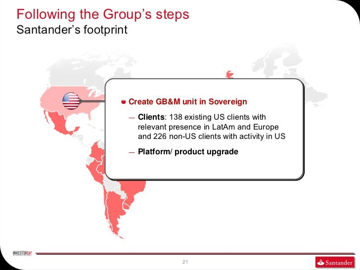 Following the Group's stepsSantander's footprint                        Create GB&M unit in Sovereign                     ...