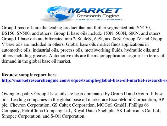 Global base oil market research report