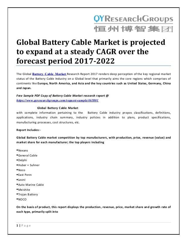 Global battery cable market is projected to expand at a