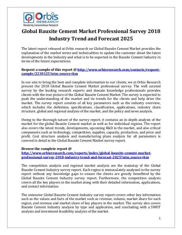 global bauxite cement market professional survey 2018 industry trend
