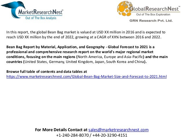 Global bean bag market size and forecast to 2021