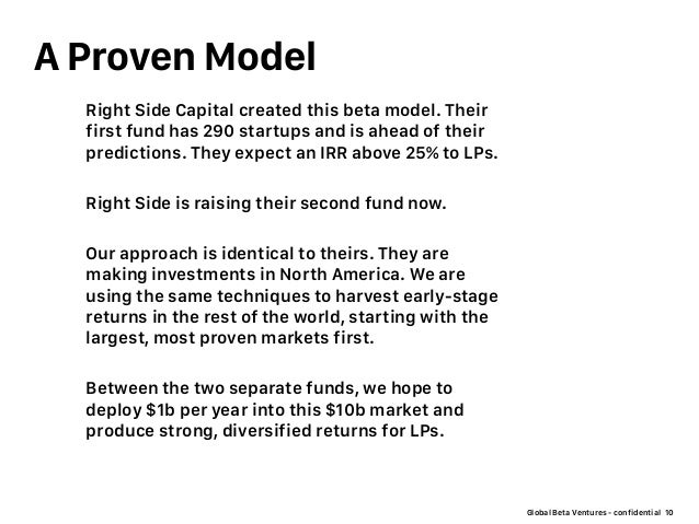 Global Beta Ventures - confidential A Proven Model 10 Right Side Capital created this beta model. Their first fund has 290...
