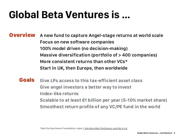 Global Beta Ventures - confidential Global Beta Ventures is … 4 Give LPs access to this tax-efficient asset class Give ang...