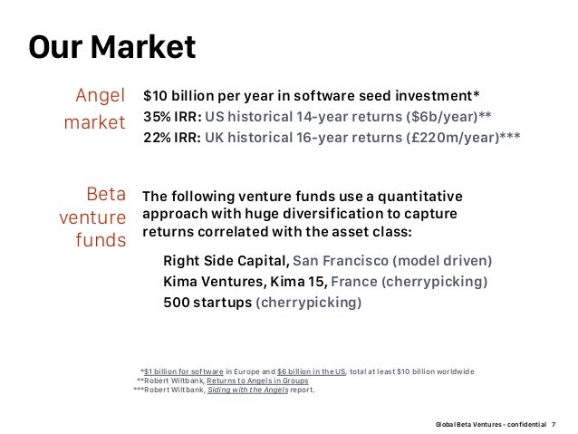 Global Beta Ventures - confidential Our Market 7 $10 billion per year in software seed investment* 35% IRR: US historical ...