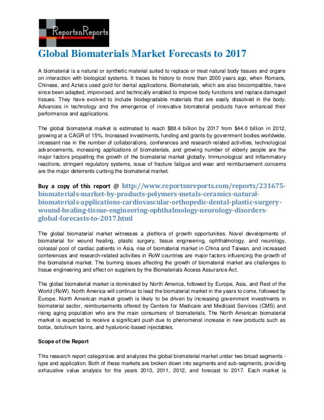 Global Biomaterials Market Forecasts to 2017A biomaterial is a natural or synthetic material suited to replace or treat na...