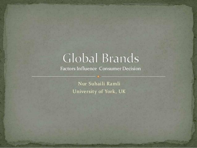 Nur Suhaili Ramli University of York, UK Factors Influence Consumer Decision